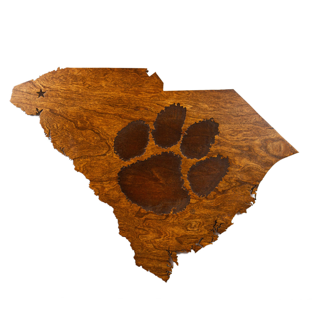 Clemson Tigers Wood Wall Hanging - State Map - Tiger Paw - Standard Size