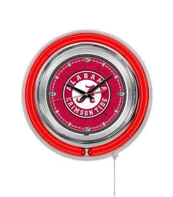 alabama crimson tide, alabama football, alabama neon clock