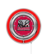"NCAA fan gear Alabama Crimson Tide elephant logo 15"" neon clock from Sports Fanz"