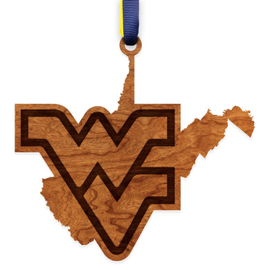 West Virginia Mountaineers Wood Ornament - State Map