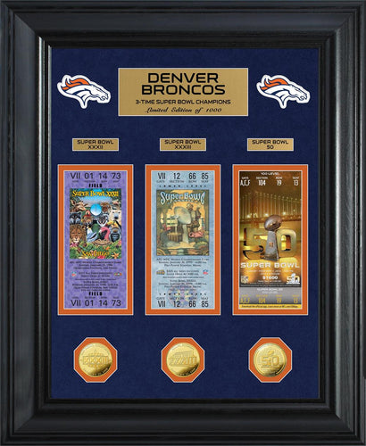 Denver Broncos 3-Time Super Bowl Champions Deluxe Gold Coin & Ticket Collection