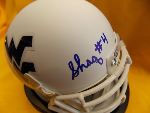 Shaquille Riddick West Virginia Mountaineers Signed White MIni Football Helmet