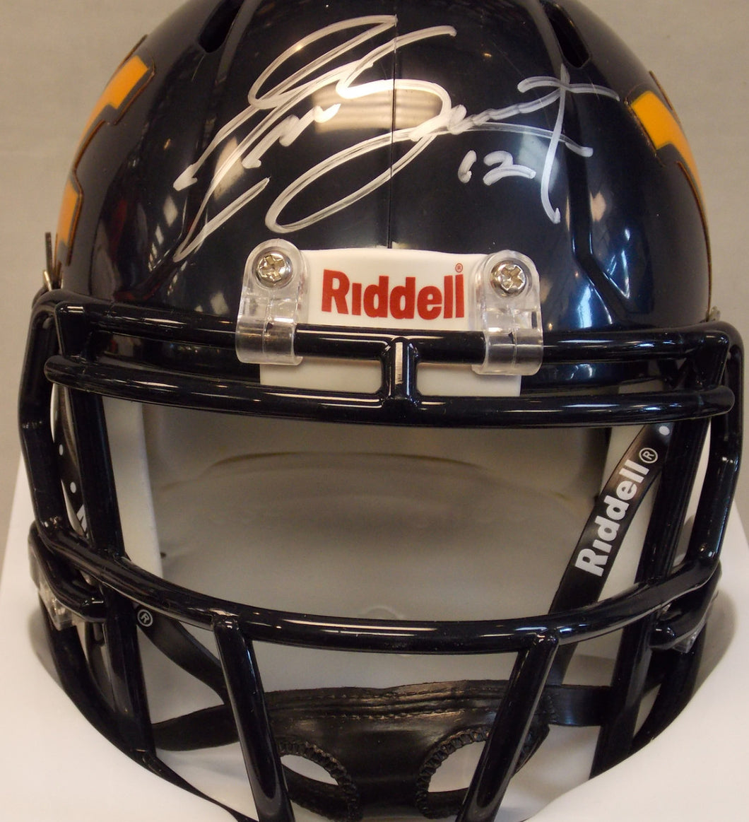 geno smith west virginia mountaineers autographed mini helmet