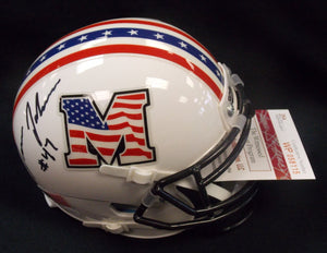Devon Johnson Marshall Thundering Herd Signed Military Bowl Mini Helmet JSA