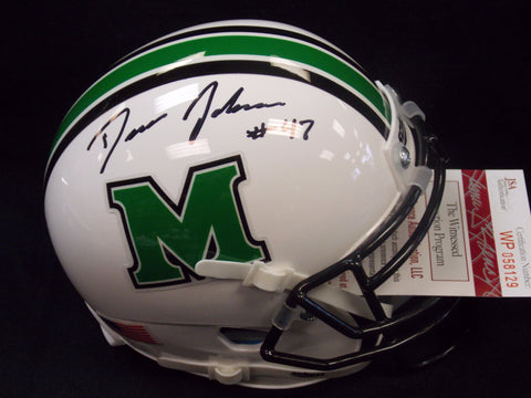 Devon Johnson Marshall Thundering Herd Signed Mini Football Helmet JSA