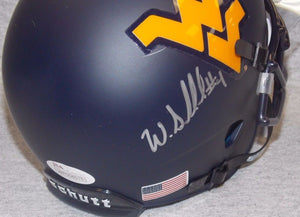 Wendell Smallwood West Virginia Mountaineers Signed Blue WVU Mini Helmet JSA