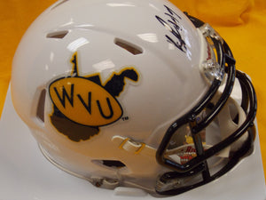 KJ Dillon West Virginia Mountaineers Signed Throwback Mini Football Helmet