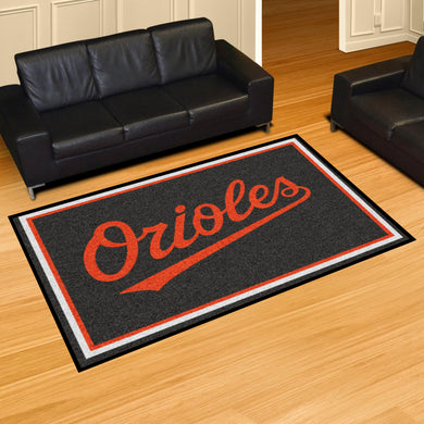 Baltimore Orioles Wordmark Plush  Rug - 5'x8'