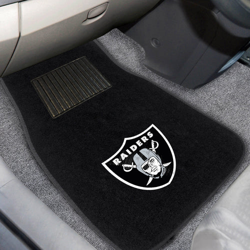 Oakland Raiders 2-Piece Embroidered Car Mat Set - 17