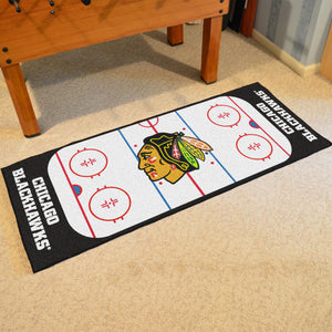 "Chicago Blackhawks Hockey Rink Runner Rug 72""x30"""