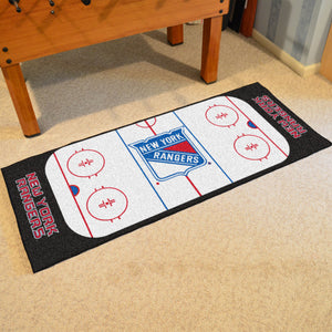 "New York Rangers Hockey Rink Runner Rug 72""x30"""