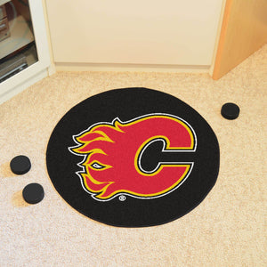 Calgary Flames Hockey Puck Rug - 27""