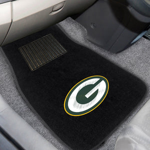 "Green Bay Packers  2-Piece Embroidered Car Mat Set - 17""x25.5"""