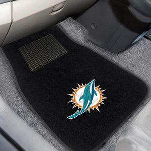 "Miami Dolphins 2-Piece Embroidered Car Mat Set - 17""x25.5"""