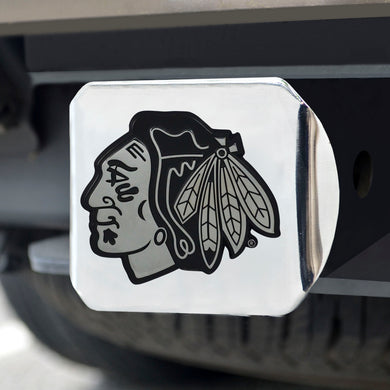 Chicago Blackhawks Chrome Emblem On Chrome Hitch Cover