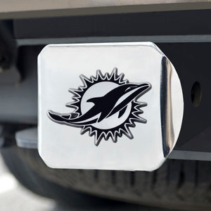 Miami Dolphins Chrome Emblem on Chrome Hitch Cover