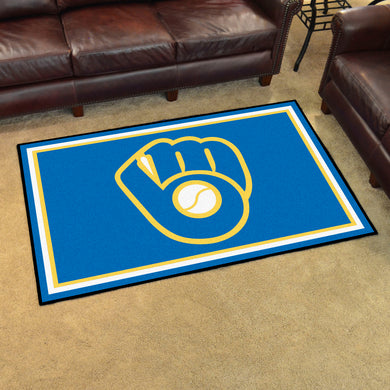 Milwaukee Brewers MB Glove Plush Rug - 4'x6'