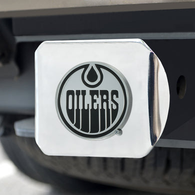 Edmonton Oilers Chrome Emblem On Chrome Hitch Cover