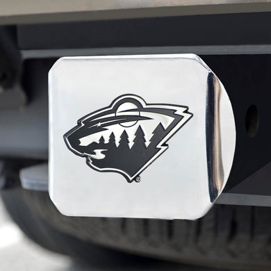 Minnesota Wild Chrome Emblem On Chrome Hitch Cover