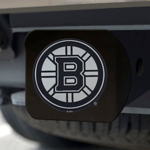 Boston Bruins Chrome Emblem On Black Hitch Cover