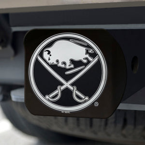 Buffalo Sabres Chrome Emblem On Black Hitch Cover