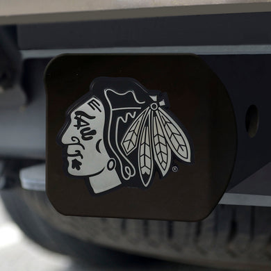 Chicago Blackhawks Chrome Emblem On Black Hitch Cover