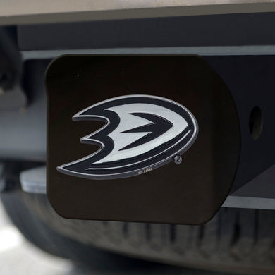 Anaheim Ducks Chrome Emblem On Black Hitch Cover