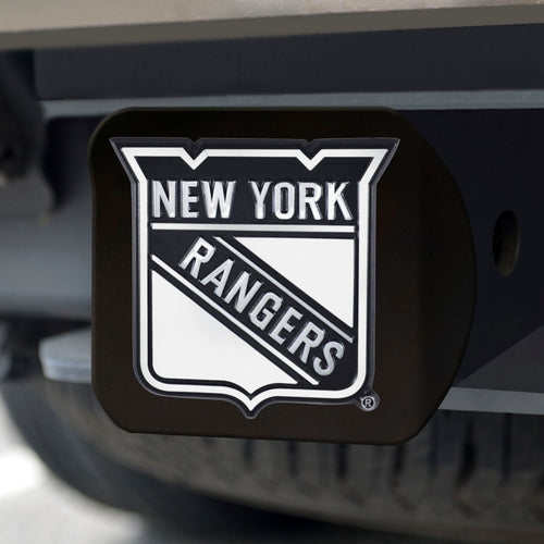 New York Rangers Chrome Emblem On Black Hitch Cover
