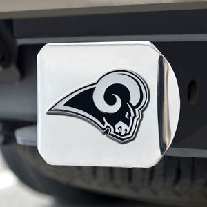 Los Angeles Rams Chrome Emblem on Chrome Hitch Cover