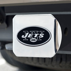 New York Jets Chrome Emblem on Chrome Hitch Cover