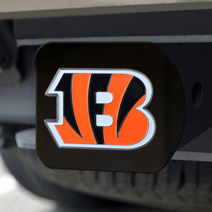 Cincinnati Bengals Color Emblem On Black Hitch Cover