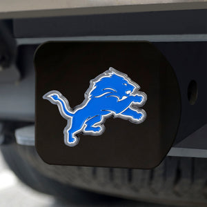 Detroit Lions Color Emblem On Black Hitch Cover