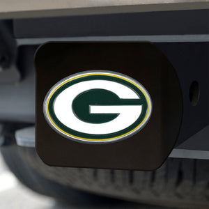 Green Bay Packers Color Emblem On Black Hitch Cover