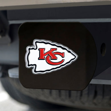 Kansas City Chiefs Color Emblem On Black Hitch Cover