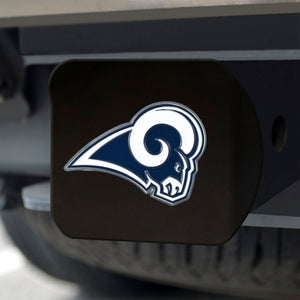 Los Angeles Rams Color Emblem On Black Hitch Cover