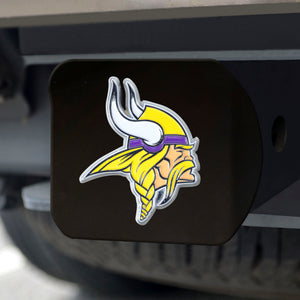Minnesota Vikings Color Emblem On Black Hitch Cover