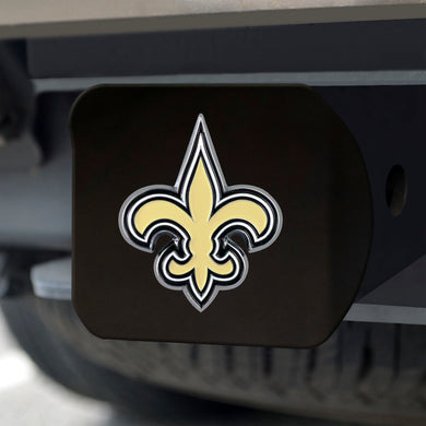 New Orleans Saints Color Emblem On Black Hitch Cover