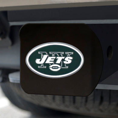 New York Jets Color Emblem On Black Hitch Cover