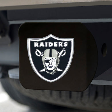 Oakland Raiders Color Emblem On Black Hitch Cover