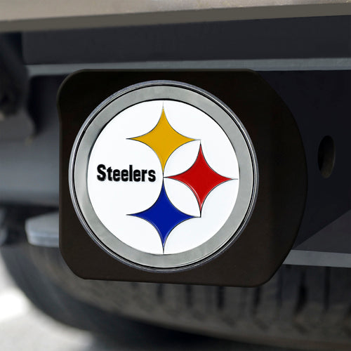 Pittsburgh Steelers Color Emblem On Black Hitch Cover