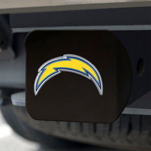 Los Angeles Chargers Color Emblem On Black Hitch Cover