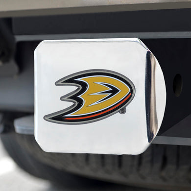 Anaheim Ducks Color Emblem On Chrome Hitch Cover