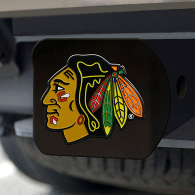 Chicago Blackhawks Color Emblem On Black Hitch Cover