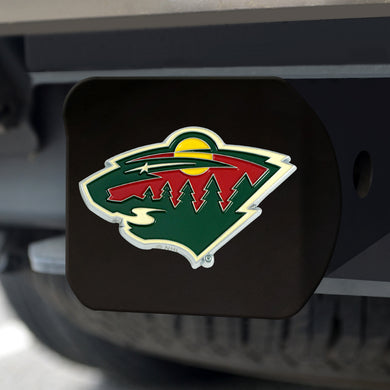 Minnesota Wild Color Emblem On Black Hitch Cover