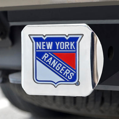 New York Rangers Color Emblem On Chrome Hitch Cover