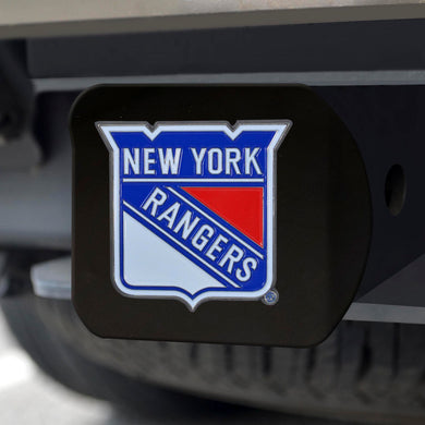 New York Rangers Color Emblem On Black Hitch Cover