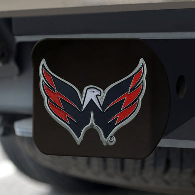 Washington Capitals Color Emblem On Black Hitch Cover