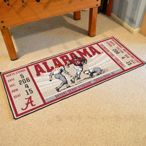 NCAA football fan gear Alabama Crimson Tide football ticket rug from Sports Fanz