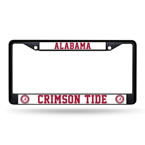 NCAA fan gear Alabama Crimson Tide black chrome license plate frame from Sports Fanz
