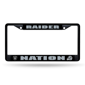 Oakland Raiders, Raiders Nation Black Chrome License Plate Frame